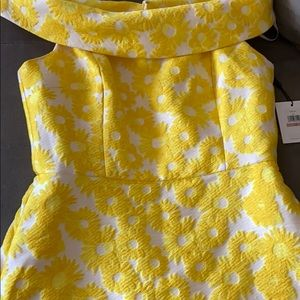 Yellow Calvin Klein Jacquard Dress